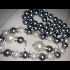 Metallic grey south sea shell pearl necklace